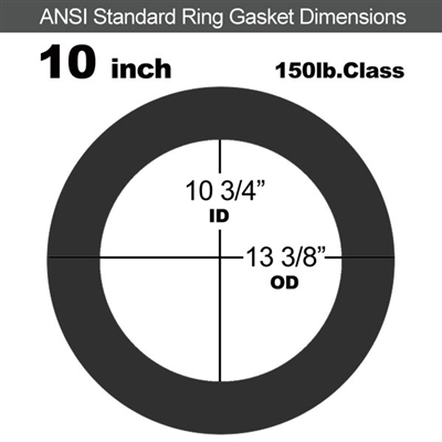 "60 Duro EPDM Ring Gasket - 150 Lb. - 1/16"" Thick - 10"" Pipe"
