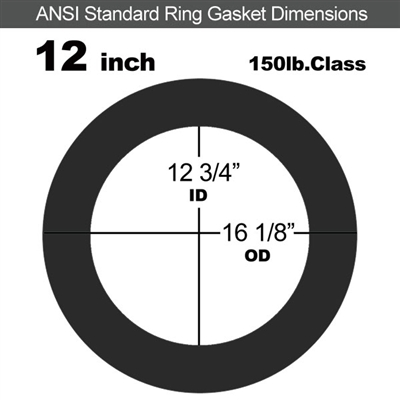 "60 Duro EPDM Ring Gasket - 150 Lb. - 1/16"" Thick - 12"" Pipe"