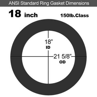 "60 Duro EPDM Ring Gasket - 150 Lb. - 1/16"" Thick - 18"" Pipe"