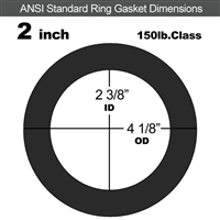 "60 Duro EPDM Ring Gasket - 150 Lb. - 1/16"" Thick - 2"" Pipe"