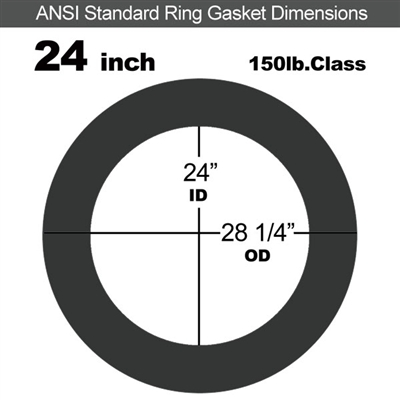 "60 Duro EPDM Ring Gasket - 150 Lb. - 1/16"" Thick - 24"" Pipe"