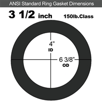 "60 Duro EPDM Ring Gasket - 150 Lb. - 1/16"" Thick - 3-1/2"" Pipe"