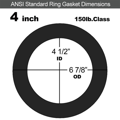 "60 Duro EPDM Ring Gasket - 150 Lb. - 1/16"" Thick - 4"" Pipe"