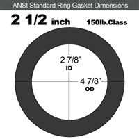 "60 Duro EPDM Ring Gasket - 150 Lb. - 1/8"" Thick - 2-1/2"" Pipe"