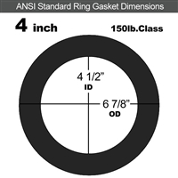 "60 Duro EPDM Ring Gasket - 150 Lb. - 1/8"" Thick - 4"" Pipe"