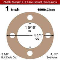 "Equalseal EQ 500 Full Face Gasket - 1/16"" Thick - 150 Lb - 1"""