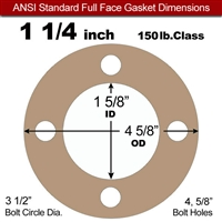 "Equalseal EQ 500 Full Face Gasket - 1/16"" Thick - 150 Lb - 1-1/4"""