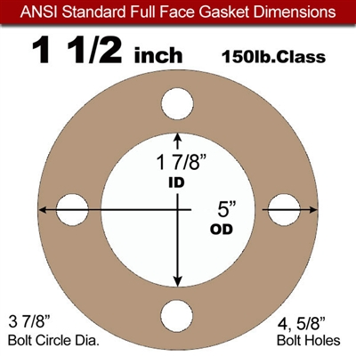 "Equalseal EQ 500 Full Face Gasket - 1/16"" Thick - 150 Lb - 1-1/2"""