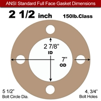 "Equalseal EQ 500 Full Face Gasket - 1/16"" Thick - 150 Lb - 2-1/2"""