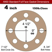 "Equalseal EQ 500 Full Face Gasket - 1/16"" Thick - 150 Lb - 4"""