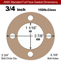 "Equalseal EQ 500 Full Face Gasket - 1/8"" Thick - 150 Lb - 3/4"""
