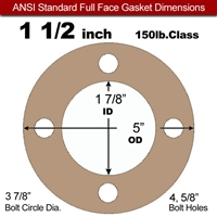 "Equalseal EQ 500 Full Face Gasket - 1/8"" Thick - 150 Lb - 1-1/2"""