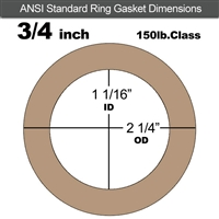 "Equalseal EQ 500 Ring Gasket - 1/16"" Thick - 150 Lb - 3/4"""