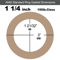 "Equalseal EQ 500 Ring Gasket - 1/8"" Thick - 150 Lb - 1-1/4"""