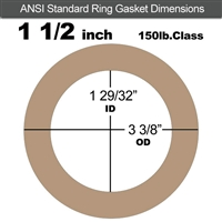 "Equalseal EQ 500 Ring Gasket - 1/8"" Thick - 150 Lb - 1-1/2"""