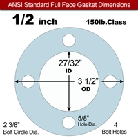 "Equalseal EQ 504 Full Face Gasket - 1/16"" Thick - 150 Lb - 1/2"""