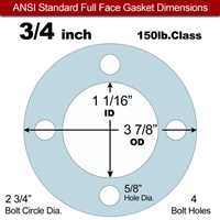 "Equalseal EQ 504 Full Face Gasket - 1/16"" Thick - 150 Lb - 3/4"""