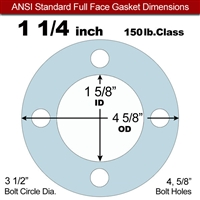 "Equalseal EQ 504 Full Face Gasket - 1/16"" Thick - 150 Lb - 1-1/4"""