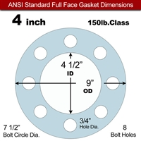 "Equalseal EQ 504 Full Face Gasket - 1/16"" Thick - 150 Lb - 4"""