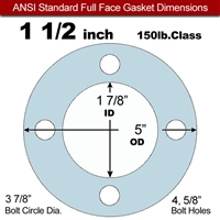 "Equalseal EQ 504 Full Face Gasket - 1/8"" Thick - 150 Lb - 1-1/2"""