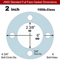 "Equalseal EQ 504 Full Face Gasket - 1/8"" Thick - 150 Lb - 2"""