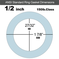 "Equalseal EQ 504 Ring Gasket - 1/16"" Thick - 150 Lb - 1/2"""