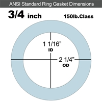 "Equalseal EQ 504 Ring Gasket - 1/16"" Thick - 150 Lb - 3/4"""