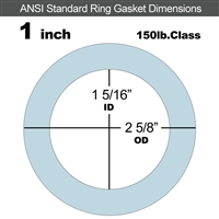 "Equalseal EQ 504 Ring Gasket - 1/16"" Thick - 150 Lb - 1"""