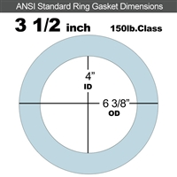 "Equalseal EQ 504 Ring Gasket - 150 Lb. - 1/16"" Thick - 3-1/2"" Pipe"
