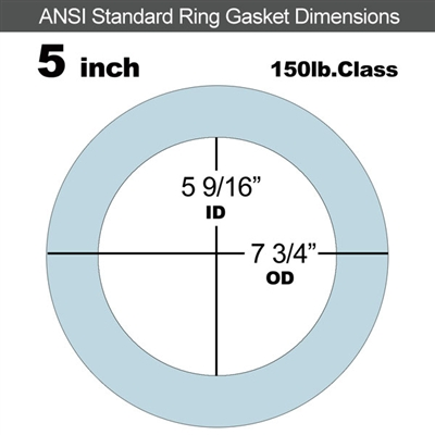 "Equalseal EQ 504 Ring Gasket - 150 Lb. - 1/16"" Thick - 5"" Pipe"