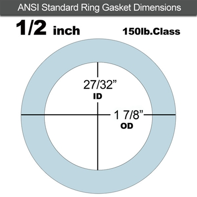 "Equalseal EQ 504 Ring Gasket - 1/8"" Thick - 150 Lb - 1/2"""
