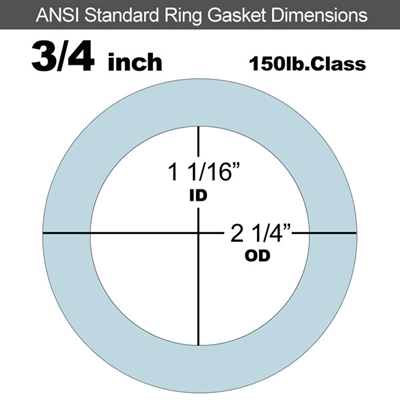"Equalseal EQ 504 Ring Gasket - 1/8"" Thick - 150 Lb - 3/4"""