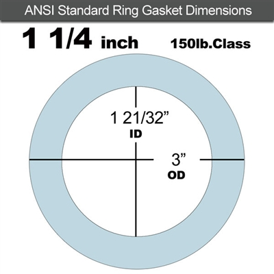 "Equalseal EQ 504 Ring Gasket - 1/8"" Thick - 150 Lb - 1-1/4"""