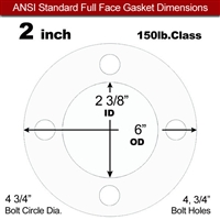 "Equalseal EQ 510 Full Face Gasket - 1/16"" Thick - 150 Lb - 2"""
