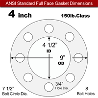 "Equalseal EQ 510 Full Face Gasket - 1/16"" Thick - 150 Lb - 4"""