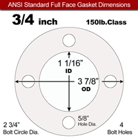 "Equalseal EQ 510 Full Face Gasket - 1/8"" Thick - 150 Lb - 3/4"""
