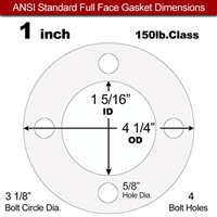 "Equalseal EQ 510 Full Face Gasket - 1/8"" Thick - 150 Lb - 1"""