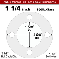 "Equalseal EQ 510 Full Face Gasket - 1/8"" Thick - 150 Lb - 1-1/4"""