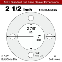 "Equalseal EQ 510 Full Face Gasket - 1/8"" Thick - 150 Lb - 2-1/2"""