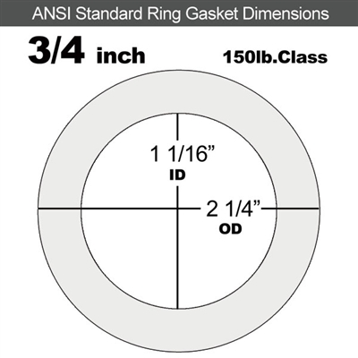 "Equalseal EQ 510 Ring Gasket - 1/16"" Thick - 150 Lb - 3/4"""