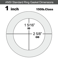 "Equalseal EQ 510 Ring Gasket - 1/8"" Thick - 150 Lb - 1"""