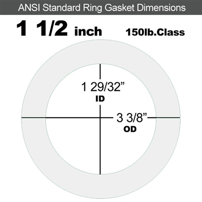 "Equalseal EQ 510 Ring Gasket - 1/8"" Thick - 150 Lb - 1-1/2"""
