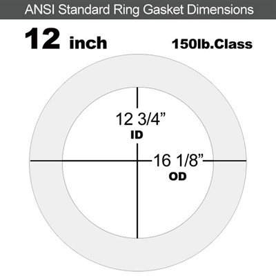 "Equalseal EQ 510 Ring Gasket - 1/8"" Thick - 150 Lb - 12"""