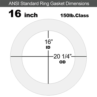 "Equalseal EQ 510 Ring Gasket - 1/8"" Thick - 150 Lb - 16"""