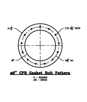 "Equalseal EQ535 Expanded PTFE Gasket - 8"" ID x 11.375"" OD x 1/8"" Thick (13) 5/16"" Holes on 9.75"" BC"