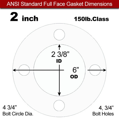 "Equalseal EQ 535exp Full Face Gasket - 150 Lb. - 1/16"" Thick - 2"" Pipe"
