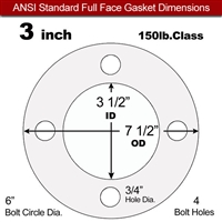 "Equalseal EQ 535exp Full Face Gasket - 150 Lb. - 1/16"" Thick - 3"" Pipe"