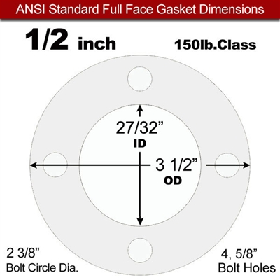"Equalseal EQ 535exp Full Face Gasket - 150 Lb. - 1/8"" Thick - 1/2"" Pipe"