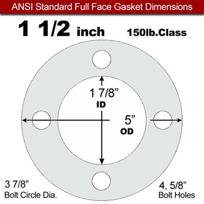 "Equalseal EQ 535exp Full Face Gasket - 150 Lb. - 1/8"" Thick - 1-1/2"" Pipe"