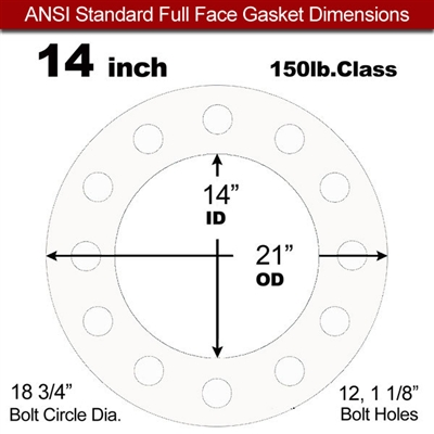 "Equalseal EQ 535exp Full Face Gasket - 150 Lb. - 1/8"" Thick - 14"" Pipe"